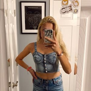 forever21 denim button up tank top
